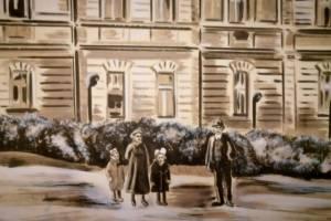 Nástěnná malba- Histor. foto- Detail, Hotelový pokoj, Praha 001