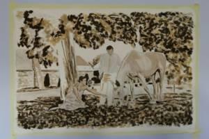 Nástěnná malba Svatba- proces malby, Hotelový pokoj, Praha 001