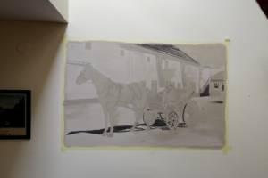 Nástěnná malba Povoz- proces malby, Hotelový pokoj, Praha 001