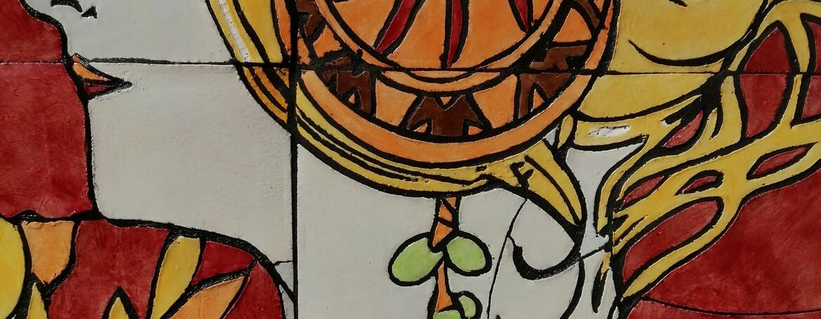 Secesní Keramická Mozaika/ Fasádní výzdoba